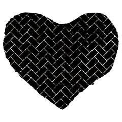 Brick2 Black Marble & Silver Foil (r) Large 19  Premium Flano Heart Shape Cushions by trendistuff
