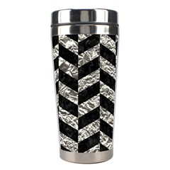 Chevron1 Black Marble & Silver Foil Stainless Steel Travel Tumblers by trendistuff