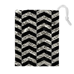 Chevron2 Black Marble & Silver Foil Drawstring Pouches (extra Large) by trendistuff