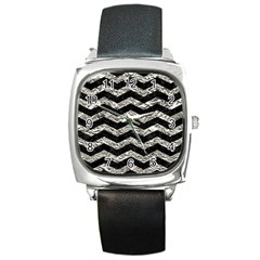 Chevron3 Black Marble & Silver Foil Square Metal Watch by trendistuff