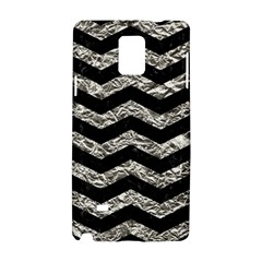 Chevron3 Black Marble & Silver Foil Samsung Galaxy Note 4 Hardshell Case by trendistuff