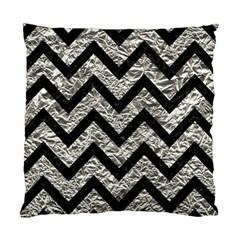 Chevron9 Black Marble & Silver Foil Standard Cushion Case (one Side) by trendistuff
