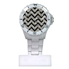Chevron9 Black Marble & Silver Foil Plastic Nurses Watch by trendistuff