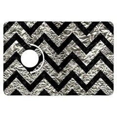 Chevron9 Black Marble & Silver Foil Kindle Fire Hdx Flip 360 Case by trendistuff
