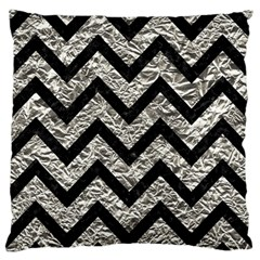 Chevron9 Black Marble & Silver Foil Large Flano Cushion Case (two Sides) by trendistuff