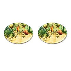 Wonderful Flowers With Butterflies, Colorful Design Cufflinks (oval) by FantasyWorld7