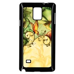 Wonderful Flowers With Butterflies, Colorful Design Samsung Galaxy Note 4 Case (black) by FantasyWorld7