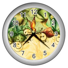 Wonderful Flowers With Butterflies, Colorful Design Wall Clocks (silver)  by FantasyWorld7