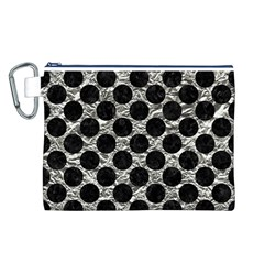 Circles2 Black Marble & Silver Foil Canvas Cosmetic Bag (l)