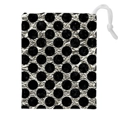 Circles2 Black Marble & Silver Foil Drawstring Pouches (xxl) by trendistuff