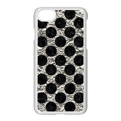 Circles2 Black Marble & Silver Foil Apple Iphone 8 Seamless Case (white)
