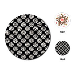 Circles2 Black Marble & Silver Foil (r) Playing Cards (round)  by trendistuff