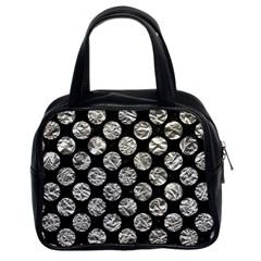 Circles2 Black Marble & Silver Foil (r) Classic Handbags (2 Sides) by trendistuff