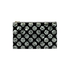 Circles2 Black Marble & Silver Foil (r) Cosmetic Bag (small)  by trendistuff