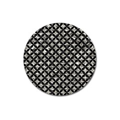 Circles3 Black Marble & Silver Foil Magnet 3  (round) by trendistuff