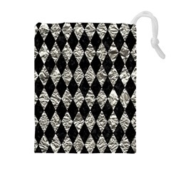 Diamond1 Black Marble & Silver Foil Drawstring Pouches (extra Large) by trendistuff