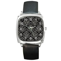 Damask1 Black Marble & Silver Foil (r) Square Metal Watch by trendistuff