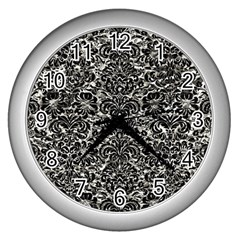 Damask2 Black Marble & Silver Foil Wall Clocks (silver)  by trendistuff