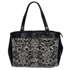 Damask2 Black Marble & Silver Foil (r) Office Handbags (2 Sides)  by trendistuff