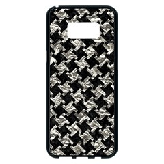 Houndstooth2 Black Marble & Silver Foil Samsung Galaxy S8 Plus Black Seamless Case by trendistuff