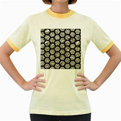 Hexagon2 Black Marble & Silver Foil Women s Fitted Ringer T Shirts by trendistuff