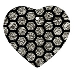 Hexagon2 Black Marble & Silver Foil Heart Ornament (two Sides) by trendistuff