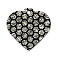 Hexagon2 Black Marble & Silver Foil Dog Tag Heart (one Side) by trendistuff