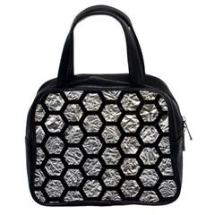 Hexagon2 Black Marble & Silver Foil Classic Handbags (2 Sides) by trendistuff