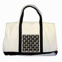 Puzzle1 Black Marble & Silver Foil Two Tone Tote Bag by trendistuff
