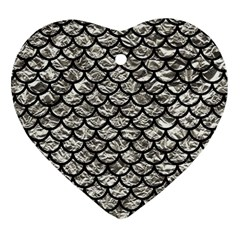 Scales1 Black Marble & Silver Foil Heart Ornament (two Sides) by trendistuff