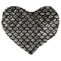 Scales1 Black Marble & Silver Foil Large 19  Premium Flano Heart Shape Cushions by trendistuff