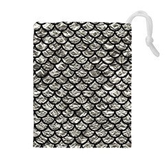 Scales1 Black Marble & Silver Foil Drawstring Pouches (extra Large) by trendistuff