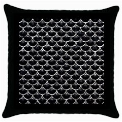Scales3 Black Marble & Silver Foil (r) Throw Pillow Case (black) by trendistuff