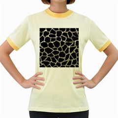 Skin1 Black Marble & Silver Foil Women s Fitted Ringer T Shirts by trendistuff