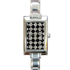 Square2 Black Marble & Silver Foil Rectangle Italian Charm Watch by trendistuff