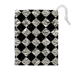 Square2 Black Marble & Silver Foil Drawstring Pouches (extra Large) by trendistuff