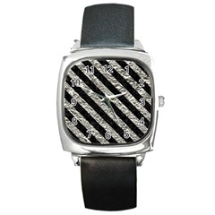 Stripes3 Black Marble & Silver Foil Square Metal Watch by trendistuff