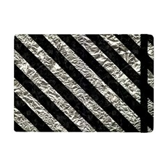 Stripes3 Black Marble & Silver Foil Apple Ipad Mini Flip Case by trendistuff