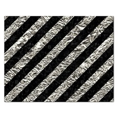 Stripes3 Black Marble & Silver Foil (r) Rectangular Jigsaw Puzzl by trendistuff