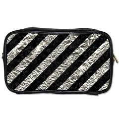 Stripes3 Black Marble & Silver Foil (r) Toiletries Bags 2 Side by trendistuff