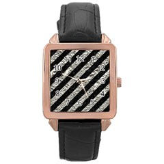 Stripes3 Black Marble & Silver Foil (r) Rose Gold Leather Watch  by trendistuff