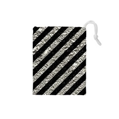 Stripes3 Black Marble & Silver Foil (r) Drawstring Pouches (small)  by trendistuff