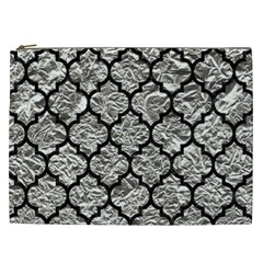 Tile1 Black Marble & Silver Foil Cosmetic Bag (xxl)  by trendistuff
