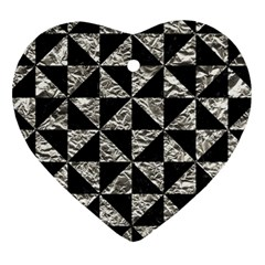 Triangle1 Black Marble & Silver Foil Heart Ornament (two Sides) by trendistuff