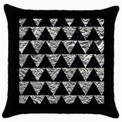 Triangle2 Black Marble & Silver Foil Throw Pillow Case (black) by trendistuff