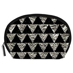 Triangle2 Black Marble & Silver Foil Accessory Pouches (large)  by trendistuff