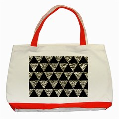 Triangle3 Black Marble & Silver Foil Classic Tote Bag (red) by trendistuff