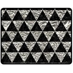 Triangle3 Black Marble & Silver Foil Fleece Blanket (medium)  by trendistuff