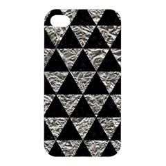 Triangle3 Black Marble & Silver Foil Apple Iphone 4/4s Hardshell Case by trendistuff