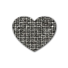 Woven1 Black Marble & Silver Foil Heart Coaster (4 Pack)  by trendistuff